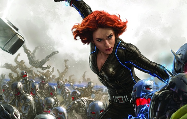 Картинка Scarlett Johansson, battlefield, girl, Fantasy, red hair, woman, war, Marvel, redhead, battle, robots, film, Black …