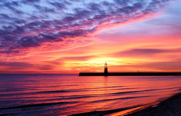 Картинка песок, море, пляж, небо, вода, пейзаж, закат, отражение, берег, блеск, маяк, красота