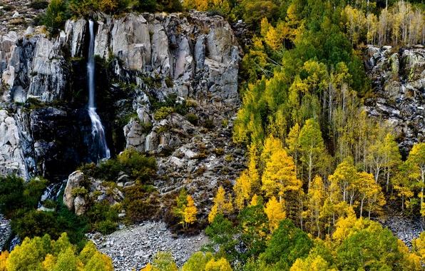 Картинка осень, лес, деревья, скала, камни, водопад