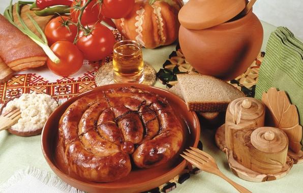 Картинка сосиски, хлеб, тыква, перец, овощи, помидоры, bread, горшочек, pumpkin, каша, колбаски, pepper, vegetables, tomato, fried, …