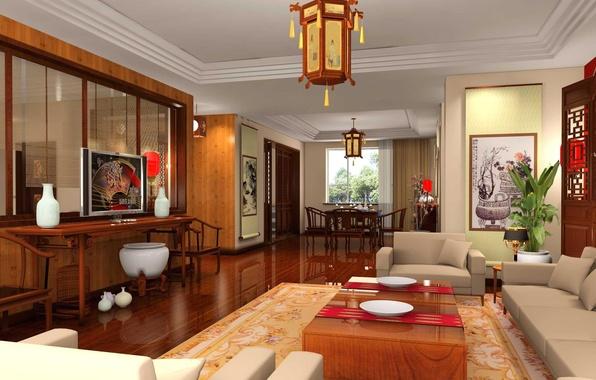 Картинка стиль, стол, комната, диван, стулья, телевизор, кресла, столик, design, китайский, люстры.