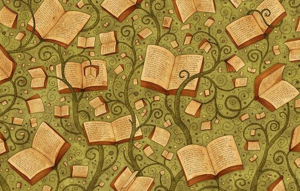 Картинка буквы, фон, книги, растения, vladstudio