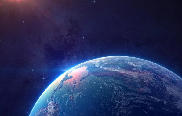 Картинка космос, земля, ландшафт, звезда, планета
