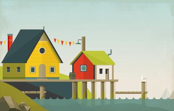 Картинка пейзаж, дом, коллаж, птица, вектор, причал