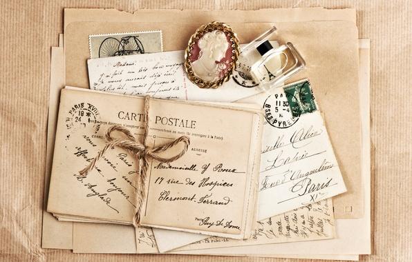Картинка винтаж, конверт, брошь, парфюм, письма, открытки, марки