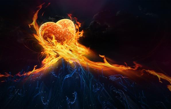 Картинка огонь, сердце, чувства, руки