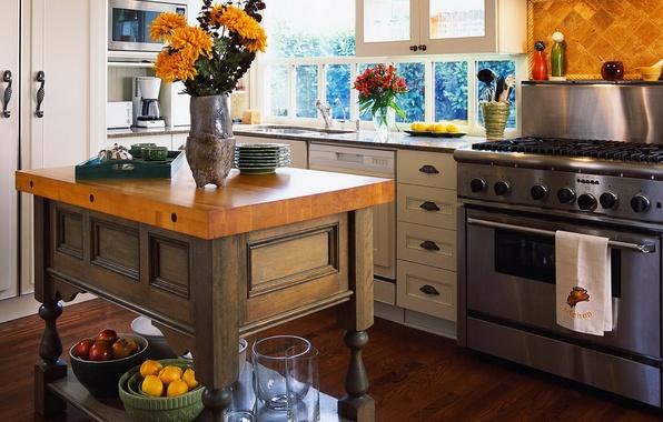 Картинка цветы, стиль, стол, интерьер, кухня, плита, посуда