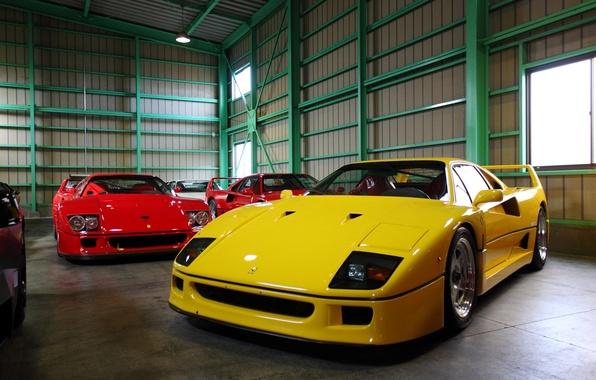 Картинка гараж, ангар, Ferrari, F40, суперкары