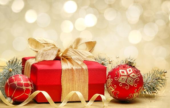 Картинка шарики, украшения, коробка, подарок, шары, узоры, игрушки, Новый Год, Рождество, декорации, золотой, бант, Christmas, красная, …