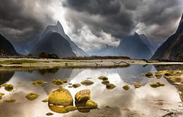 Картинка небо, пейзаж, горы, тучи, озеро, камни, Новая Зеландия