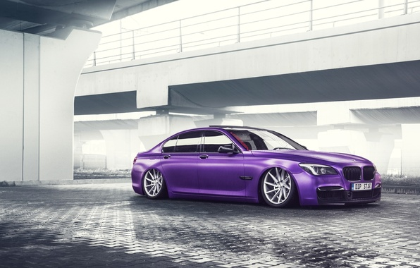 Картинка BMW, German, Car, Purple, Color, 7 Series, Vossen, Low, Wheels