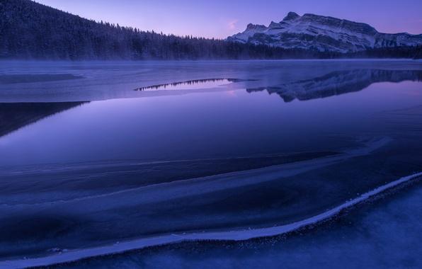 Картинка лес, горы, озеро, утро, Ice, Blue Morning