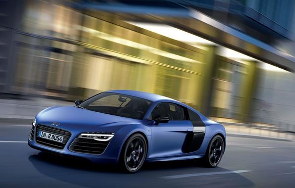 Картинка Audi, Ауди, Синий, Город, Машина, V10, Передок, Plusx