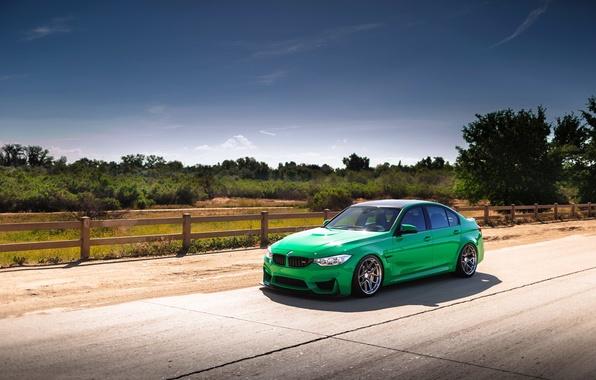 Картинка car, green, bmw, road, f80