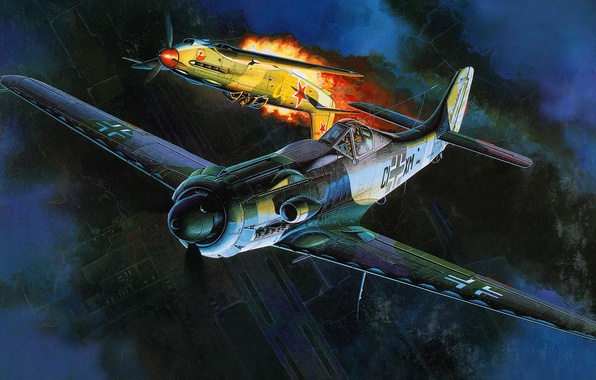 Картинка рисунок, арт, воздушный бой, Фокке-Вульф, Focke-Wulf, немецкий высотный перехватчик периода Второй мировой войны, Ta 152