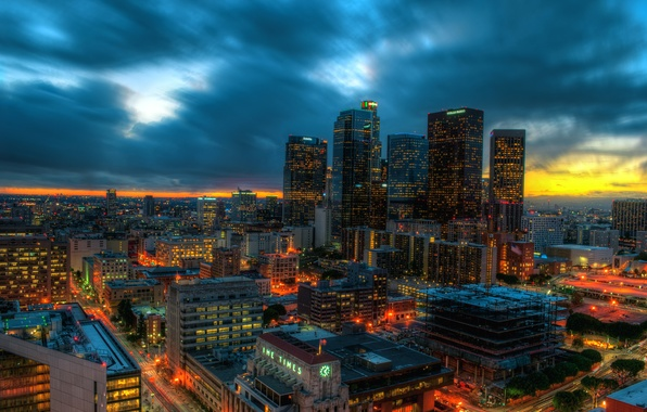Картинка закат, огни, дома, небоскребы, вечер, панорама, США, мегаполис, Лос-Анджелес Калифорния