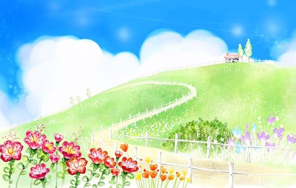 Картинка дорога, зелень, лето, облака, цветы, дом, рисунок, забор, холм, хижина