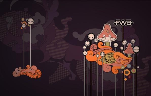 Картинка надпись, грибы, графика, вектор, fwa