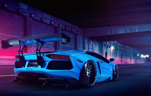 Картинка Lamborghini, Blue, LP700-4, Aventador, Liberty Walk