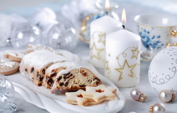 Картинка шарики, чай, свечи, печенье, Рождество, Новый год
