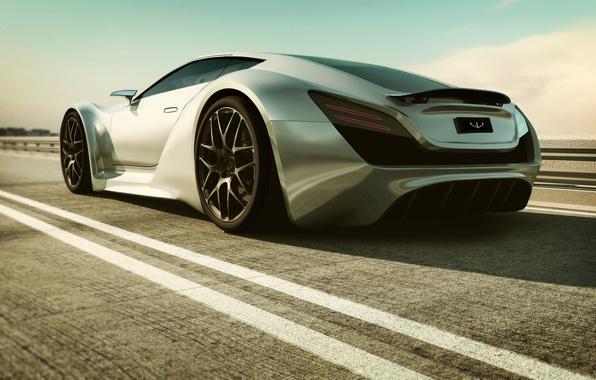Картинка дорога, машина, Bentley, арт, суперкар, Super Monaco