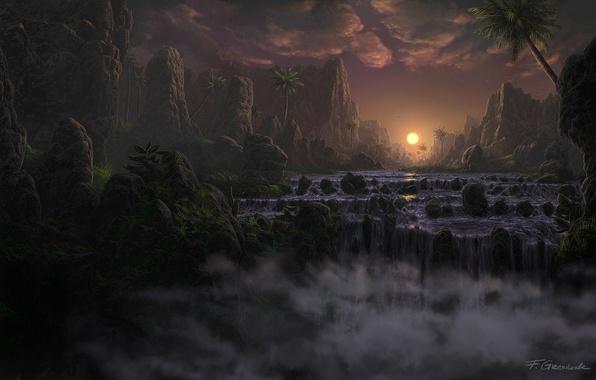 Картинка пейзаж, закат, река, камни, пальмы, скалы, водопад, вечер, арт, Fel-X
