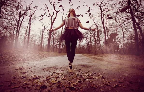Картинка дорога, девушка, настроение, танец