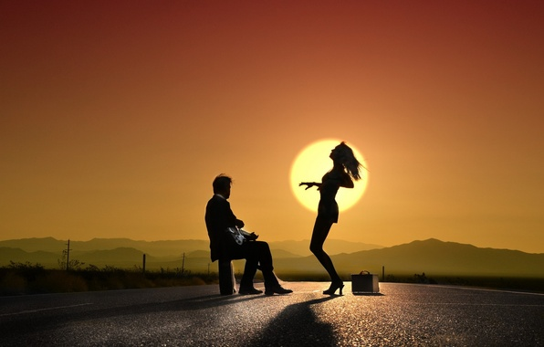Картинка девушка, закат, музыка, танец, парень, силуэты