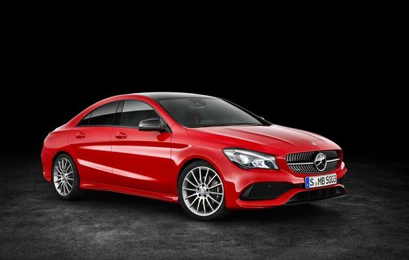 Фото обои красный, Mercedes-Benz, CLA-Class, фон, C117, мерседес, AMG