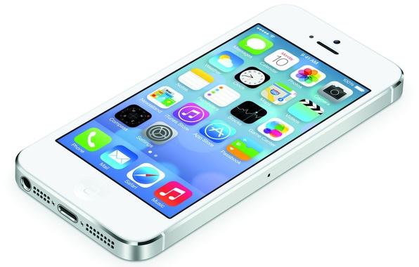 Картинка легкий, apple, белый фон, white, Lightning, иконки, тонкий, iPhone 5, серебристые грани, retina display, iOS …