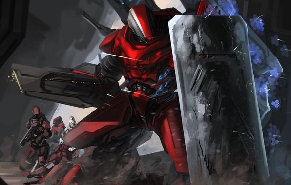 Картинка оружие, робот, арт, щит, меха, гигантский, Peter Balogh