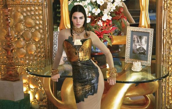 Картинка украшения, цветы, модель, макияж, фигура, платье, зеркало, брюнетка, прическа, красотка, столик, фотосессия, Vogue, Kendall Jenner, ...