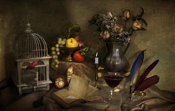 Картинка вино, птица, бокал, розы, свеча, букет, текстура, клетка, перья, ракушка, виноград, книга, фрукты, натюрморт, гранат, …