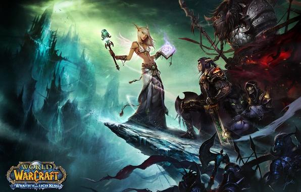 Картинка оружие, меч, воин, эльфы, маг, WoW, World of Warcraft, топор, нежить, таурен