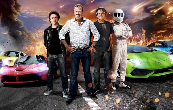 Картинка Jeremy Clarkson, Top Gear, Stig, Supercars, Richard Hammond, James May, Ferrari LaFerrari, BMW i8, Lamborghini …