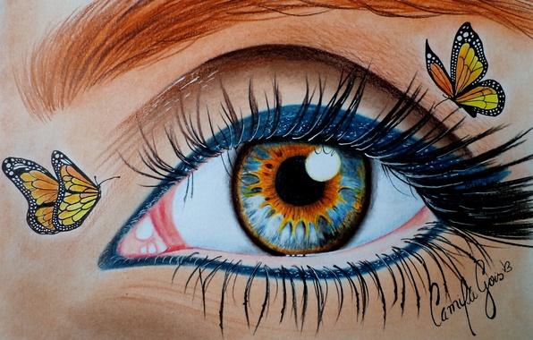 Картинка взгляд, бабочки, глаз, ресницы, макияж, живопись, подводка
