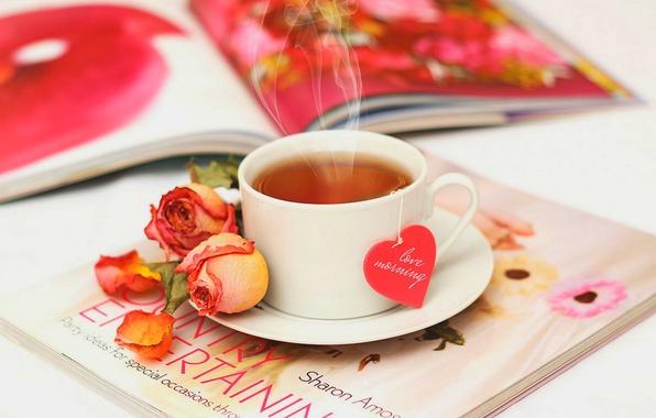 Картинка любовь, цветы, чай, сердце, розы, лепестки, чашка, love, rose, журнал, heart, flowers, cup, drink, petals, …