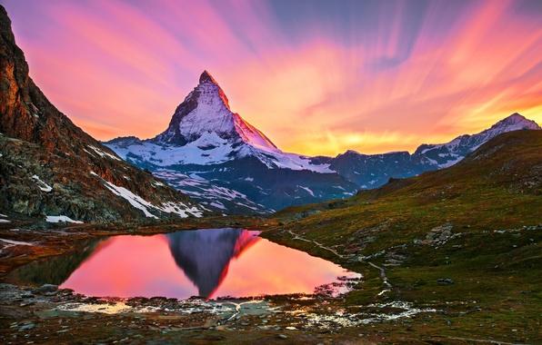 Картинка снег, пейзаж, озеро, рассвет, гора