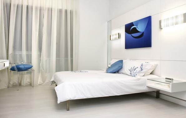 Картинка белый, синий, комната, кровать, интерьер, спальня