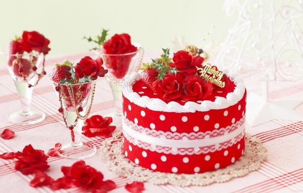 Картинка цветок, украшения, радость, цветы, ягоды, стол, настроение, праздник, бокал, елка, рождество, розы, лепестки, бокалы, клубника, ...