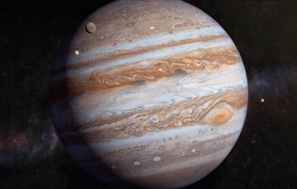 Картинка звёзды, юпитер, солнечная система, спутники, газовый гигант
