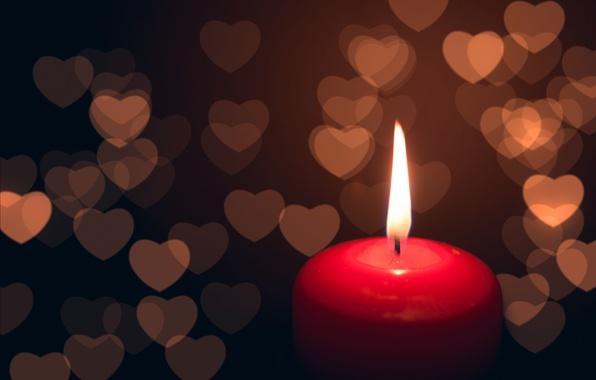 Картинка фон, огонь, пламя, розовый, widescreen, обои, настроения, сердце, свеча, размытие, wallpaper, свечка, широкоформатные, background, боке, …