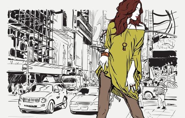 Картинка дорога, взгляд, девушка, машины, поза, стиль, улица, профиль