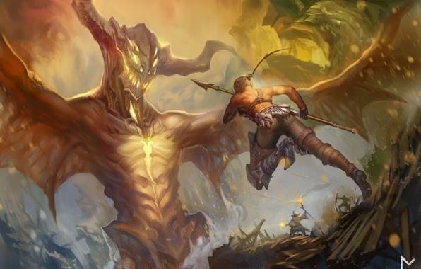 Картинка оружие, люди, крылья, монстр, лук, арт, рога, копье, стрелы, gevurah-studios