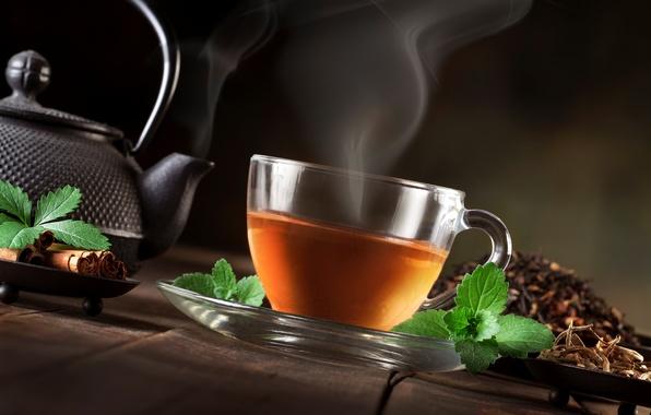 Картинка чай, чайник, пар, чашка, листочки, корица, мята, заварка