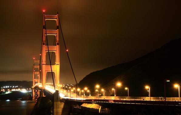 Картинка дорога, море, вода, свет, ночь, огни, города, океан, дороги, дома, америка, мосты, сша, штаты