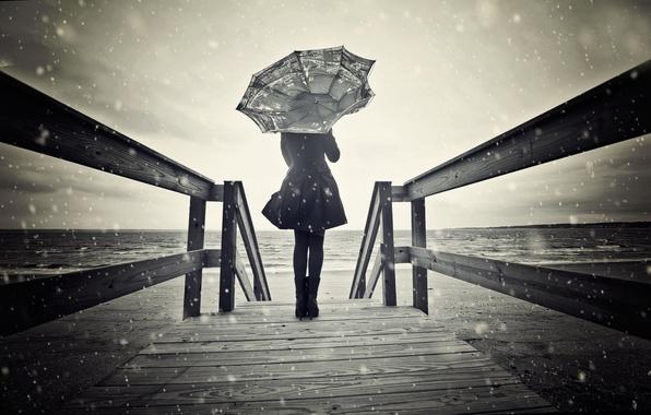 Картинка девушка, снег, ветер, зонт