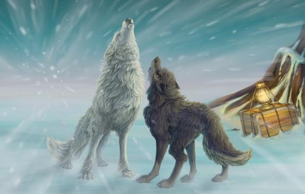 Картинка зима, снег, арт, фонарь, волки, вой, ящик, метель