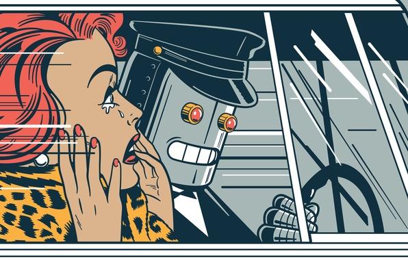 Картинка car, лицо, женщина, волосы, робот, слезы, окно, руль, прическа, glass, автомобиль, robot, panic, паника, woman, …