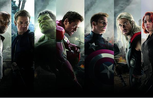 Картинка Scarlett Johansson, Heroes, Hulk, Iron Man, The, Captain America, Team, Thor, Black Widow, Robert Downey …